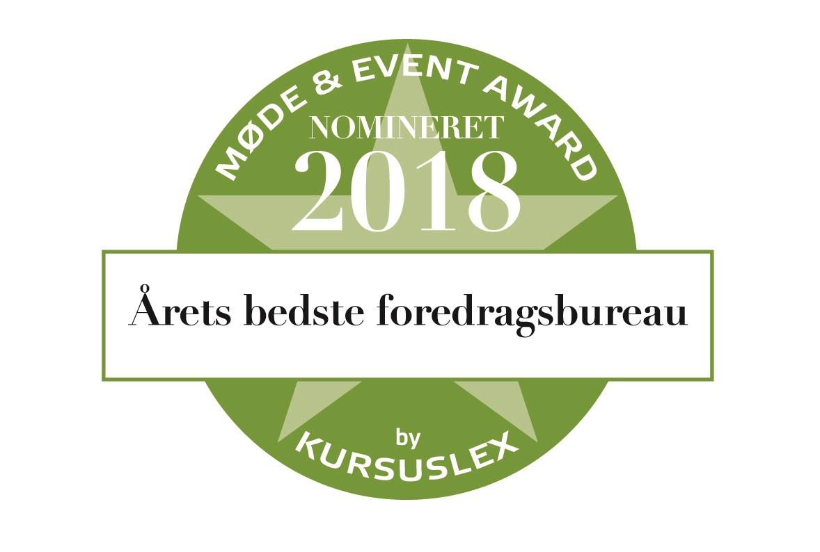 Nominering: Årets bedste foredragsbureau 2018
